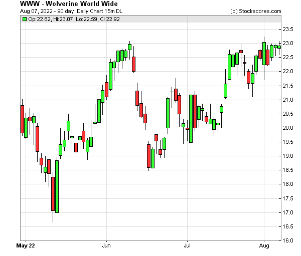 Daily Technical Chart for (NYSE: WWW)